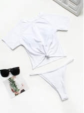 Simple Design Knots Round Neck Female Swimwear