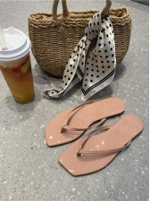 Minimalist Patent Leather Open Toe Beach Flip Flop