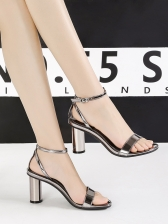 Simple Design Office Lady Ankle Strap Heeled Sandals