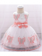 Binding Bow Butterflies Girl Gauze Dress