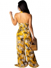 Sexy Printing Backless V Neck 2 Pieces Sets