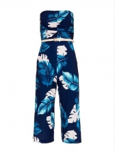 Casual Printing Strapless Jumpsuit For Women