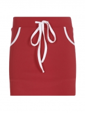 Casual Letter Drawstring Red Mini Skirt