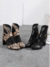 Fashion Gauze Patchwork Snake Printed Ankle Boots