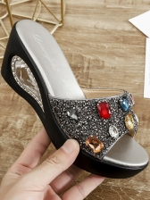 Casual Style Rhinestone Sequined Women Wedge Slippers