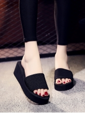 Simple Style Easy Matching Black Platform Slippers