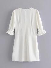 Plunging V Neck Button Half Sleeve Dress