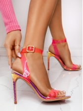 Chic Candy Color Snake Printed High Heel Sandals