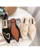 Casual Style Embroidery Pointed Mules Shoes For Women
