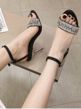 New Arrival Rhinestone Letter Buckle Strap Women Sandals