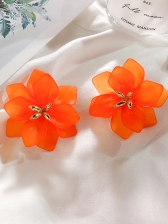 Retro Solid Color Big Petal Earrings