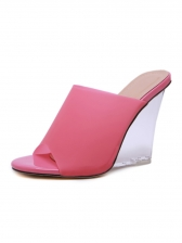 Sexy Solid Color Clear Heel Wedges For Women