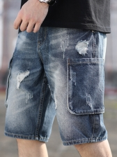 Denim Multi Pocket Harem Destroyed Short Pants