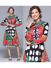 Chic Printing Pleated Button Up Midi Dresses