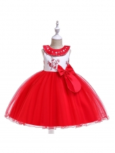 Bow Embroidered Girl Gauze Fluffy Dresses
