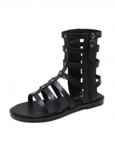Euro Style Zipper Up Straps Rivets Patchwork Women High-top Shoes