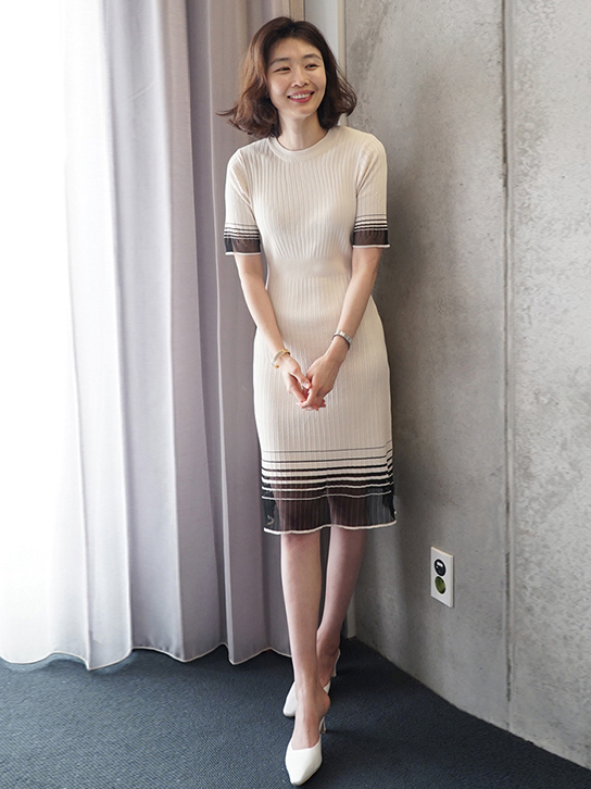 Crew Neck Gauze Patchwork Short Sleeve Fitted Dress