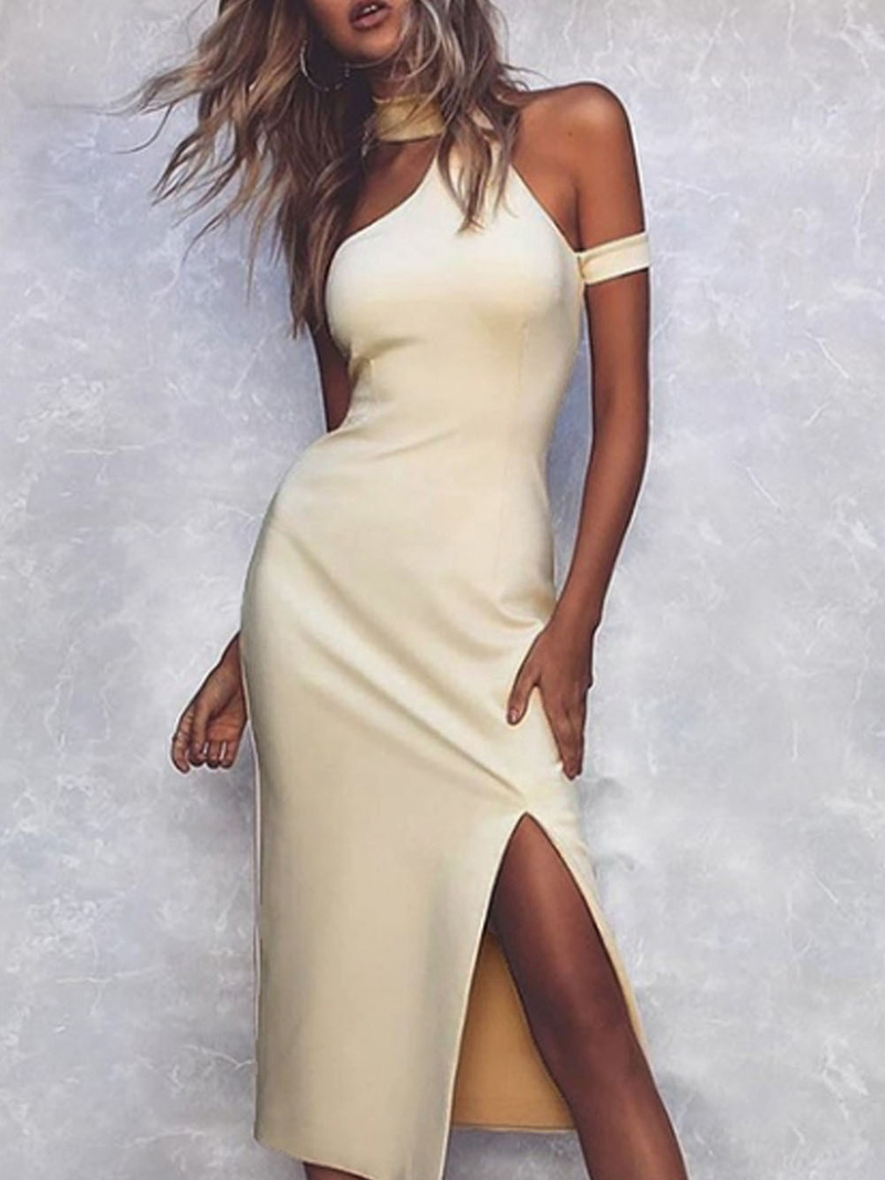 Solid Color Off Shoulder Fitted Maxi Dress