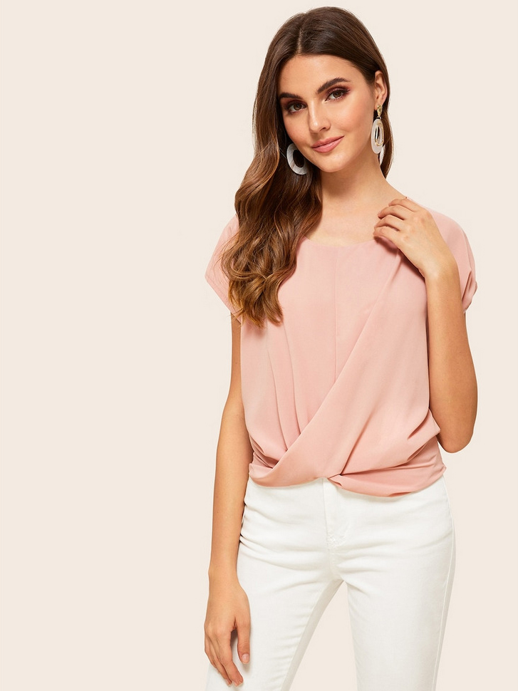Crew Neck Twist Pink Chiffon Blouse