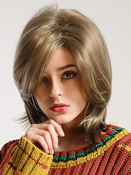 Elegant Side Bang Blonde Short Synthetic Wig For Ladies