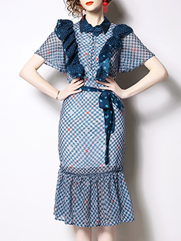 Stylish Agaric Laces Polka Dots Short Sleeve Dress
