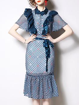 Stylish Agaric Laces Polka Dots Short Sleeve Dress