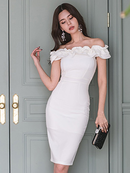 Ladies Agaric Lace Fitted White Off Shoulder Dress