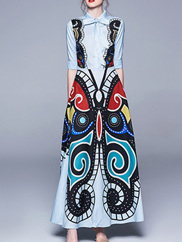 Stylish Butterfly Print Big Swing Maxi Dress