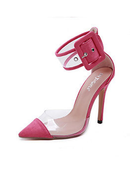 PVC Patchwork Matching Ankle Strap Heels