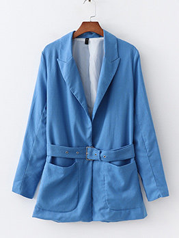 Solid Big Pocket Blue Blazer With Belt