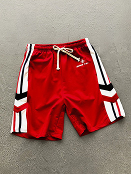 Contrast Color Loose Straight Short Pants