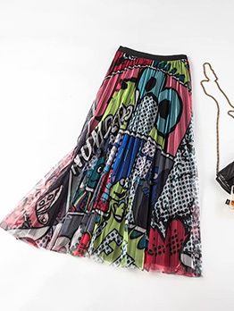 Cartoon Print Contrast Color Pleated Gauze Midi Skirt