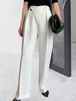 Simple Design Solid Wide Leg Trouser