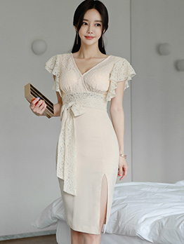Korean Design Fitted Lace Patchwork Bodycon Dress