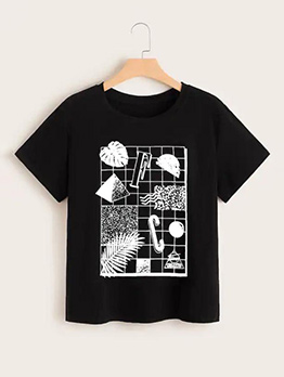 Black Short Sleeve T-Shirt Printing