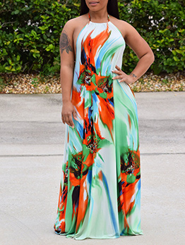 Printed Backless Halter Maxi Dress For Vacation