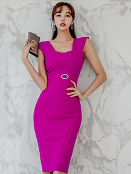 Ladies Square Collar Slim Sleeveless Dresses