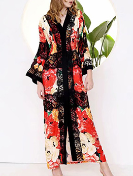 National Style Lace Patchwork Floral Maxi Dress