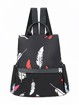 Feather Printed Metal Bucket Backpack For Women