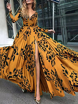 High Slit Printed Big Swing Evening Maxi Dress