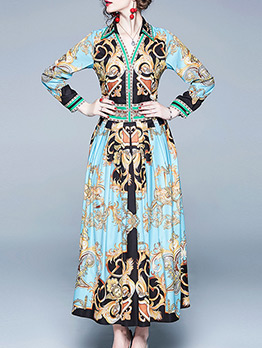 Vintage Printed Smart Waist Pleated Maxi Dress
