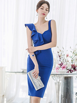 Ol Style V Neck Ruffled Detail Blue Bodycon Dress