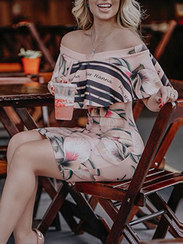 Off Shoulder Striped Flower Printed Ruffled Dress