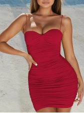 Sexy V Neck Solid Sleeveless Fitted Short Dress