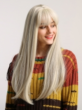 Neat Bang Ombre Color Long Straight Synthetic Wig