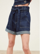 High Waisted Tie-Wrap Short Jeans