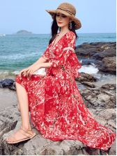 Tie-Wrap Flower Chiffon Maxi Dress For Vacation
