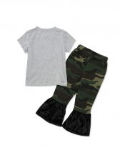 Letter Gray Tee With Camouflage Flare Pants