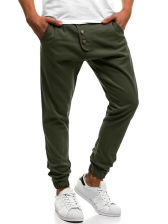 Casual Solid Button Patchwork Jogger Pants For Men