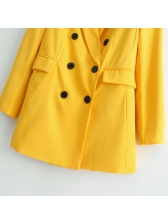 Spring Double-breasted Yellow Blazer For Women
